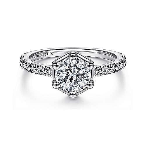 Gabriel - 14k White Gold Round Hexagon Framed Straight Engagement Ring