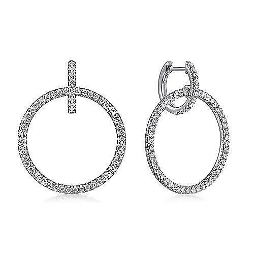 caafcf3c13219 14k White Gold Round Linked Pave Diamond Huggie Drop Earrings - EG13656W45JJ