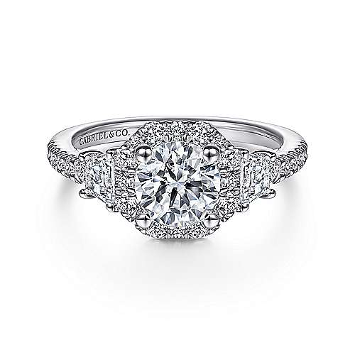 Gabriel - 14k White Gold Round Octagonal Halo Engagement Ring