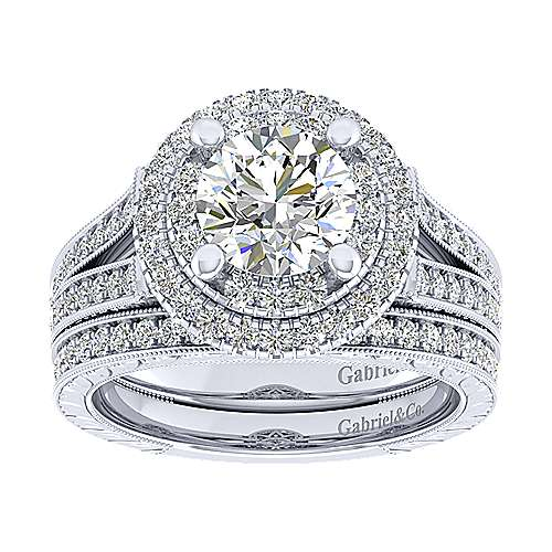 14k White Gold Round Perfect Match Engagement Ring angle 4