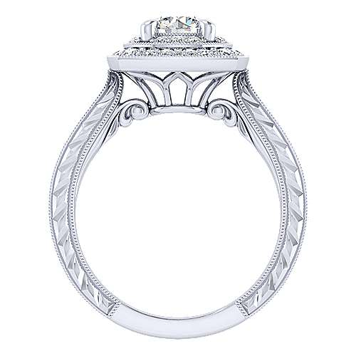 14k White Gold Round Perfect Match Engagement Ring angle 2