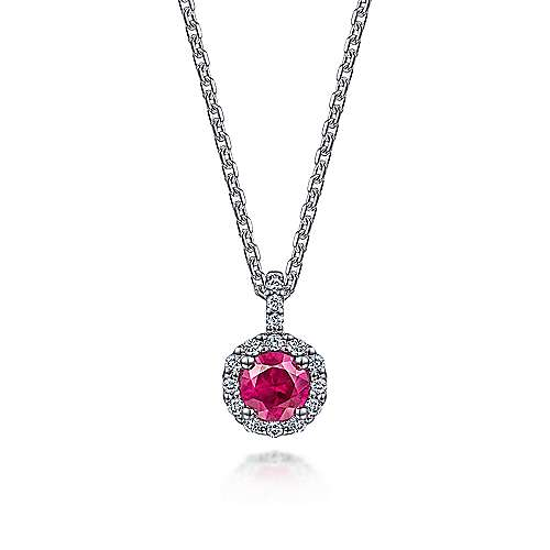 14k White Gold Round Ruby Diamond Halo Fashion Necklace