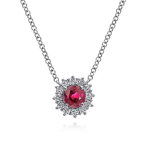 14k White Gold Round Ruby Prong Set Diamond Halo Fashion Necklace