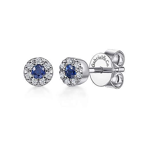 Gabriel - 14k White Gold Round Sapphire & Diamond Halo Stud Earrings