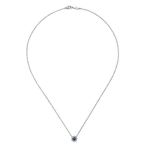 14k White Gold Round Sapphire Diamond Halo Fashion Necklace