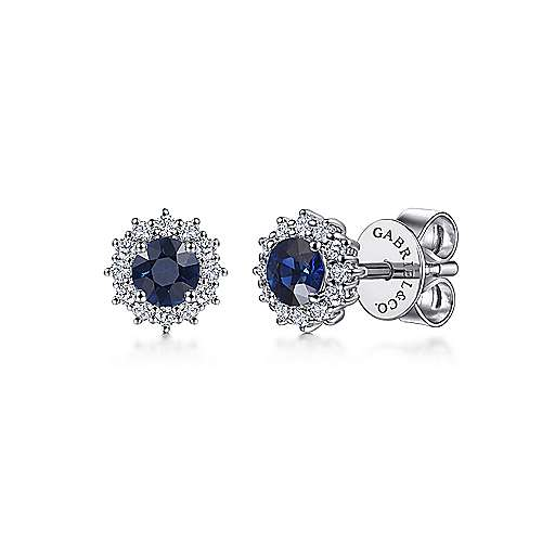 Gabriel - 14k White Gold Round Sapphire Diamond Halo Stud Earrings