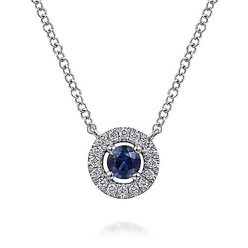 14k White Gold Round Sapphire and Pave Diamond Halo Necklace