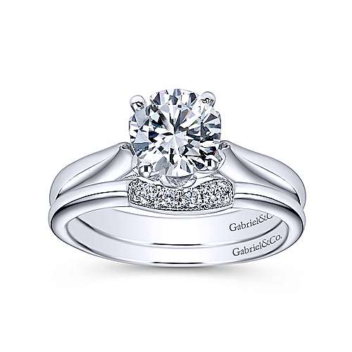 14k White Gold Round Solitaire Engagement Ring angle 4
