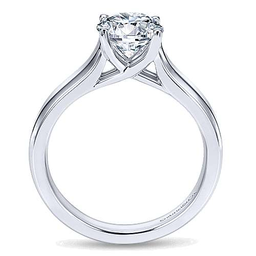 14k White Gold Round Solitaire Engagement Ring angle 2