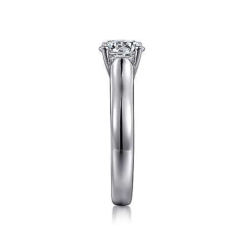 14k White Gold Round Solitaire Engagement Ring angle 5
