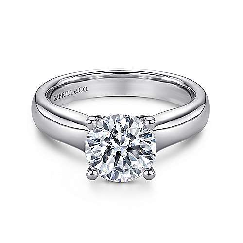 14k White Gold Round Solitaire Engagement Ring angle 1