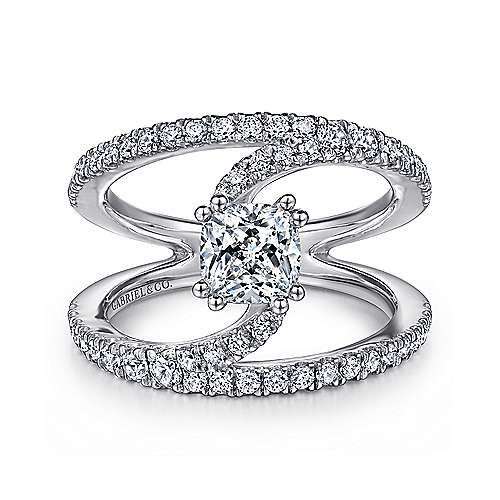 Gabriel - 14k White Gold Round Split Shank Diamond Engagement Ring