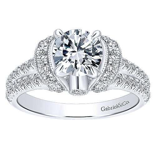 14k White Gold Round Split Shank Engagement Ring angle 5