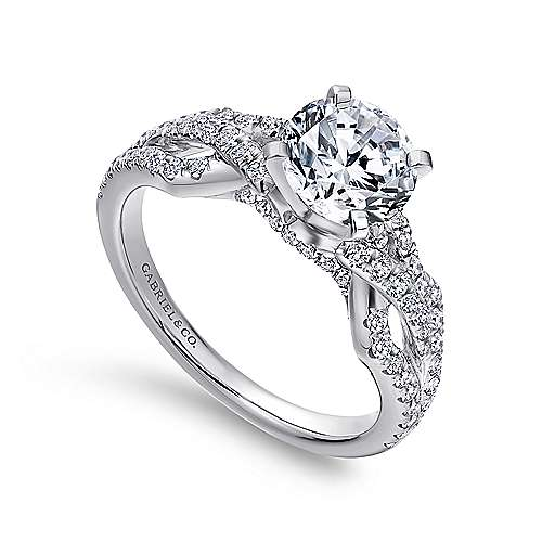 14k White Gold Round Split Shank Engagement Ring angle 3