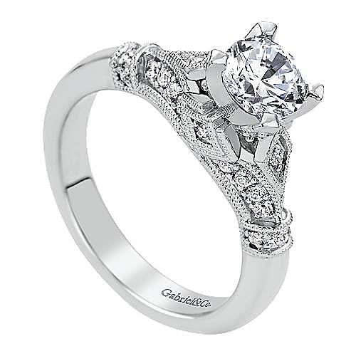 14k White Gold Round Split Shank Engagement Ring angle 3