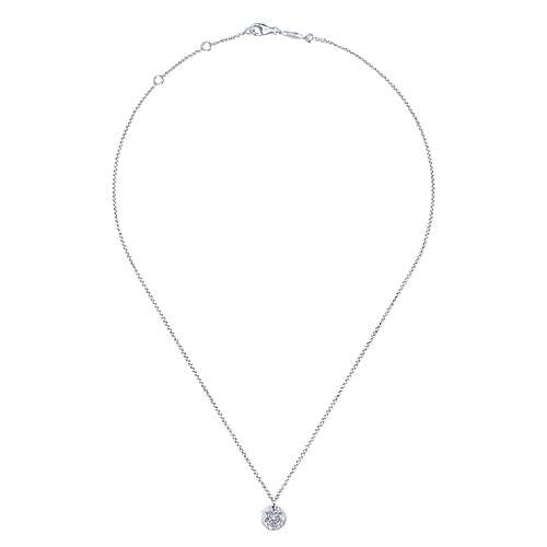 14k White Gold Round Star of David Diamond Necklace