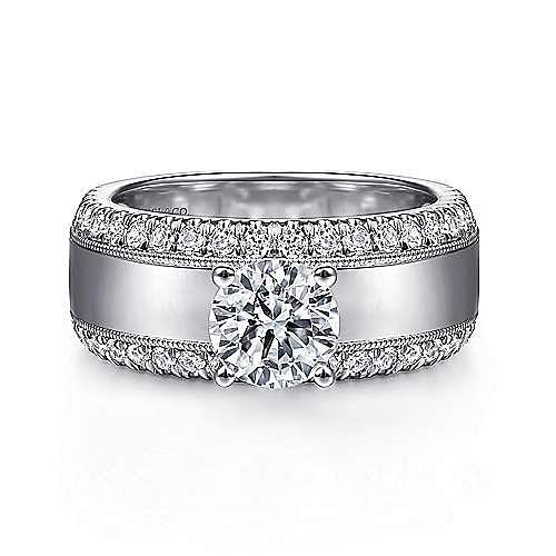 14k White Gold Round Straight Engagement Ring ~ Amos