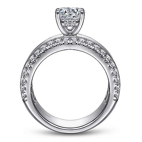 14k White Gold Round Straight Engagement Ring ~ Amos