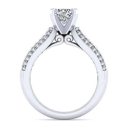14k White Gold Round Straight Engagement Ring angle 2