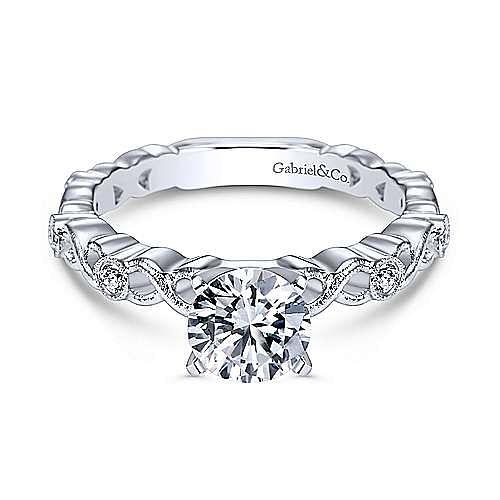 14k White Gold Round Straight Engagement Ring angle 1
