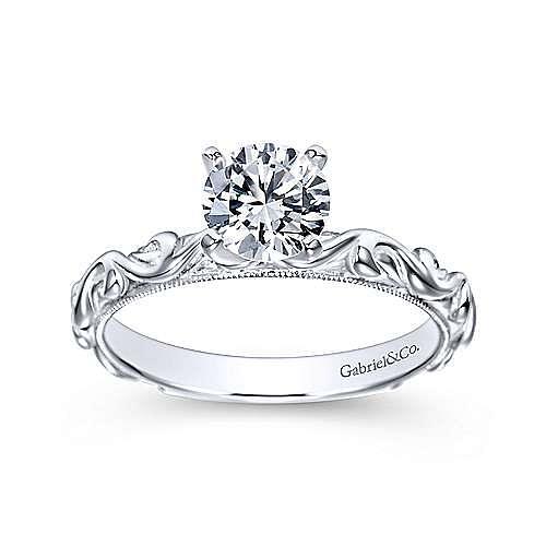 14k White Gold Round Straight Engagement Ring angle 5
