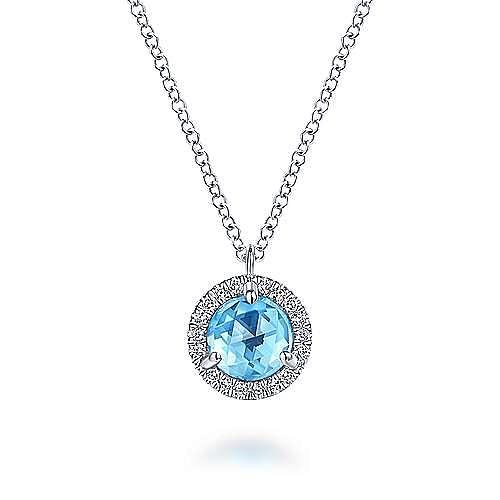 Gabriel - 14k White Gold Round Swiss Blue Topaz Diamond Halo Fashion Necklace