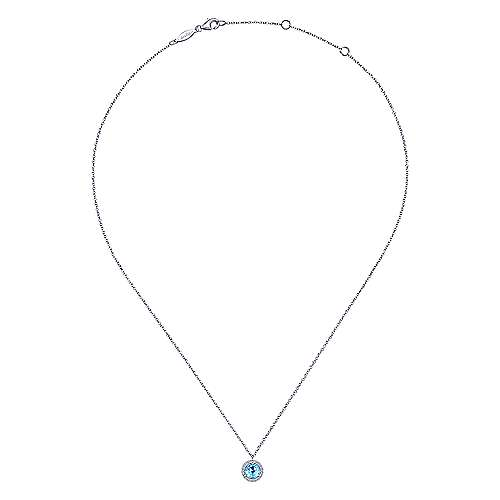 14k White Gold Round Swiss Blue Topaz Diamond Halo Necklace