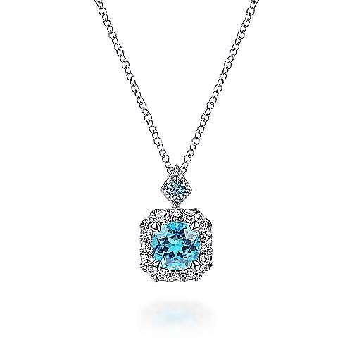 14k White Gold Round Swiss Blue Topaz Diamond Halo Pendant Necklace