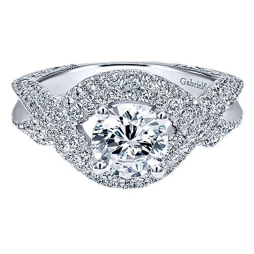 Gabriel - 14k White Gold Round Twisted Engagement Ring