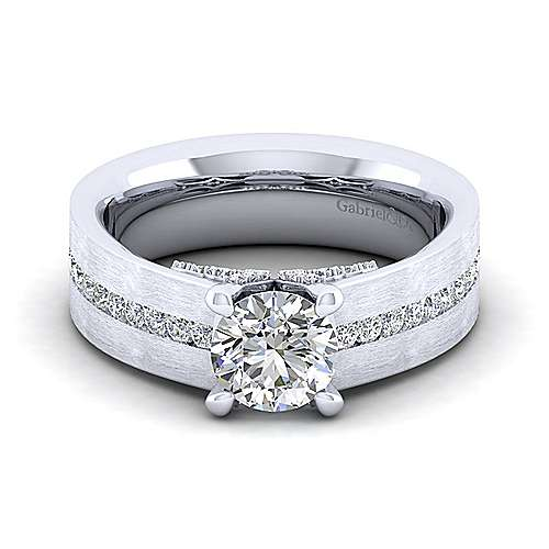 Gabriel - 14k White Gold Round Wide Band Engagement Ring