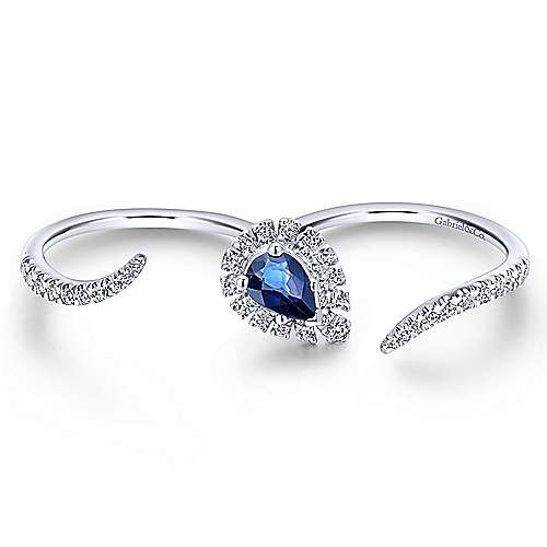 14k White Gold Sapphire & Diamond Open Double Ring