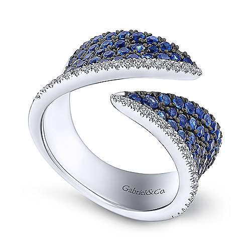 14k White Gold Sapphire & Diamond Open Wide Band Fashion Ring