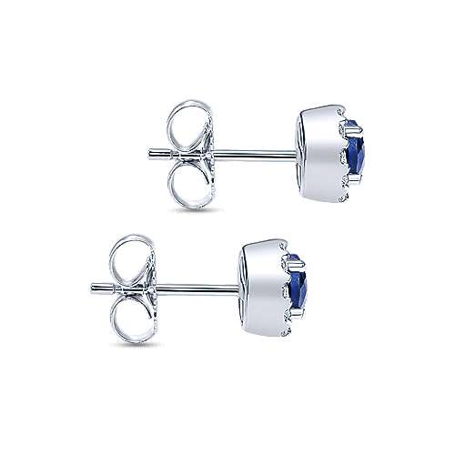 14k White Gold Sapphire Diamond Halo Stud Earrings