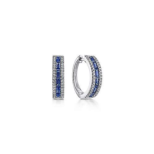 14k White Gold Sapphire Pave Diamond Huggie Hoop Earrings