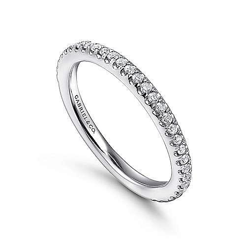 14k White Gold Scalloped Diamond Stackable Ring