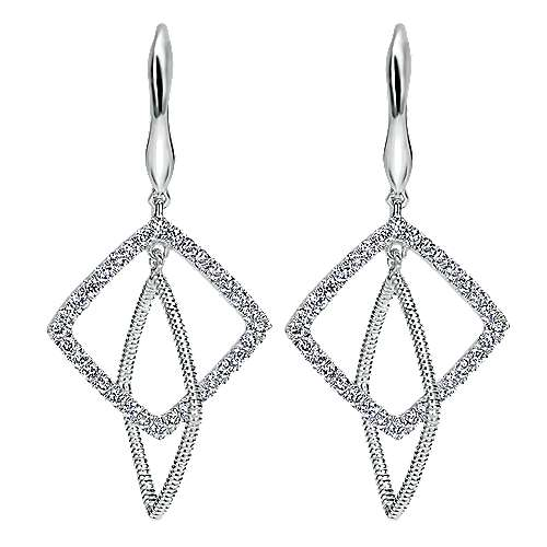 14k White Gold Scalloped Drop Earrings angle 1
