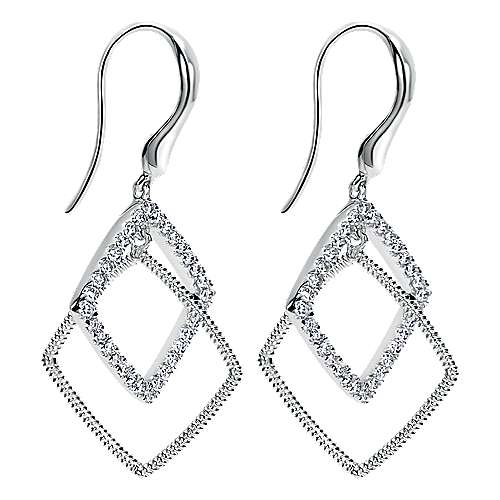 14k White Gold Scalloped Drop Earrings angle 2