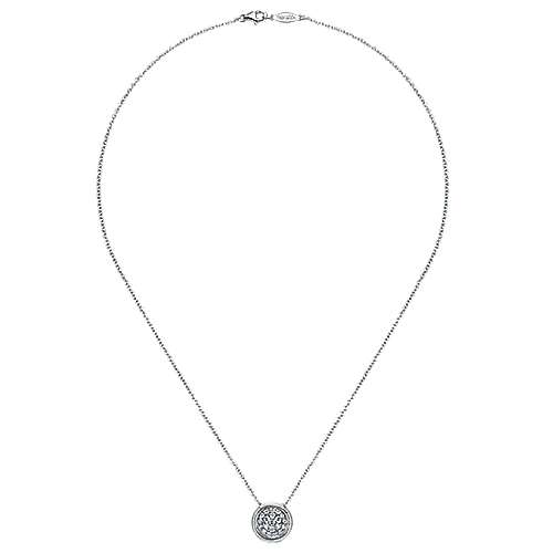 14k White Gold Scalloped Fashion Necklace angle 2