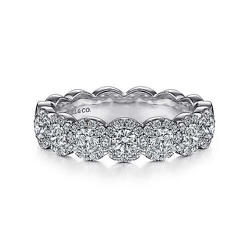 Gabriel - 14k White Gold Scalloped Halo Anniversary Band