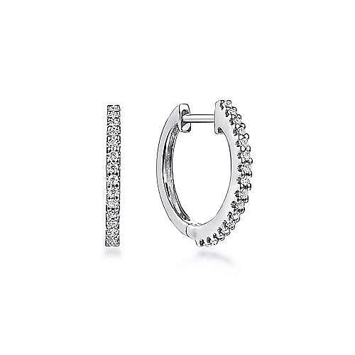 14k White Gold Scalloped Round 15mm Diamond Huggie Earrings