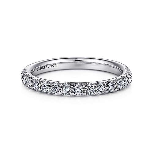 Gabriel - 14k White Gold Scalloped Shared Prong Band