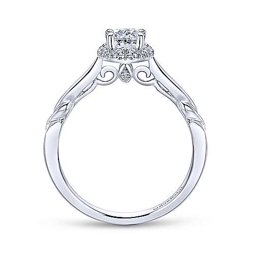 14k White Gold Sculpted Oval Halo Engagement Ring