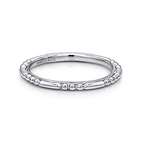 14k White Gold Sculpted Stackable Ring