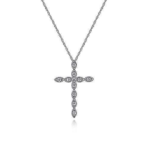 14k White Gold Segmented Diamond Faith Cross Necklace