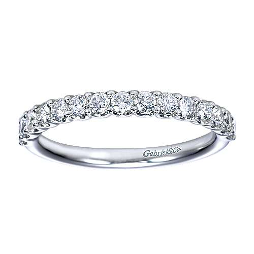 14k White Gold Shared Prong Band