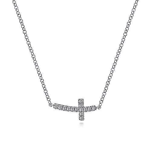 Gabriel - 14k White Gold Sideways Curved Diamond Cross Necklace