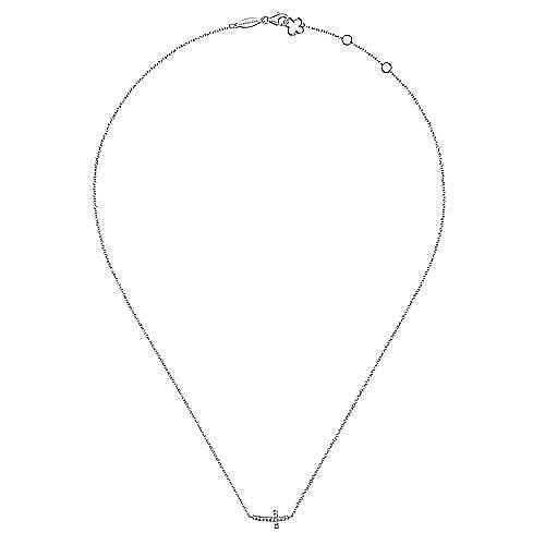 14k White Gold Sideways Curved Diamond Cross Necklace