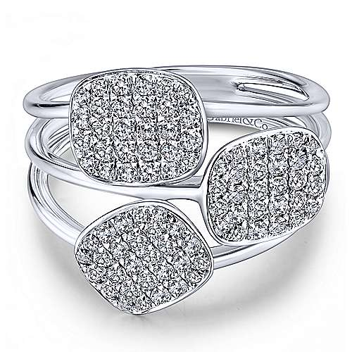 Gabriel - 14k White Gold Silk Fashion Ladies Ring