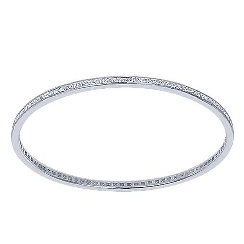 14k White Gold Stackable Bangle angle 1