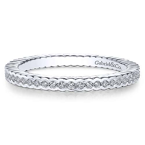 14k White Gold Stackable Beaded Ladies Ring
